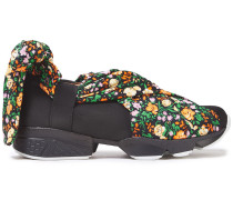 Floral-print Cotton-blend And Neoprene Slip-on Sneakers