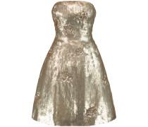 Sequinned Silk Mini Dress Gold
