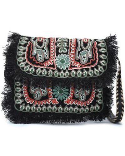 Embellished Embroidered Jute Shoulder Bag Black Size --