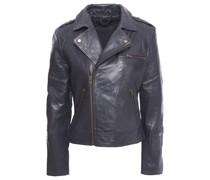 Barna Cropped Washed-leather Biker Jacket