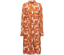 Roseabelle Belted Printed Washed-crepe Shirt Dress