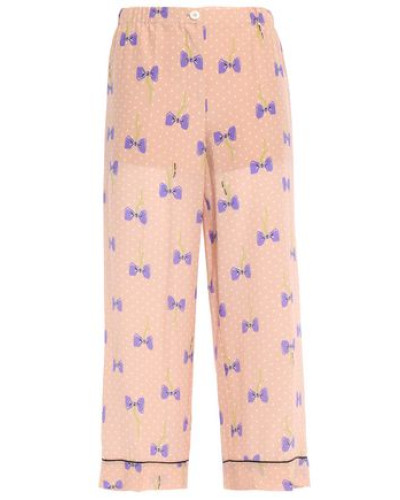 Woman Printed Silk Crepe De Chine Wide-leg Pants Blush