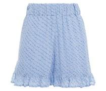 Bedruckte Shorts aus Crêpe mit Rüschenbesatz