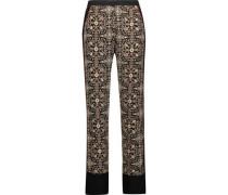Printed silk-georgette straight-leg pants