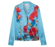 Copine Floral-print Silk-satin Shirt