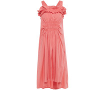 Ruffled Shirred Cotton-poplin Dress