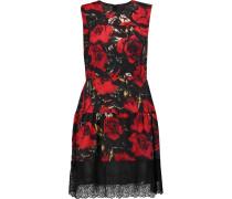 Wild Rose Embroidered Floral-print Crepe De Chine Mini Dress Mehrfarbig