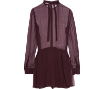 Pussy-bow Silk-chiffon Playsuit Brombeere