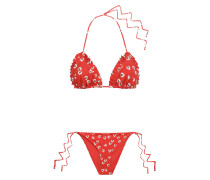 Columbine Pleated Floral-print Triangle Bikini