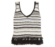 Linear Fringed Cotton-blend Bouclé Top Schwarz