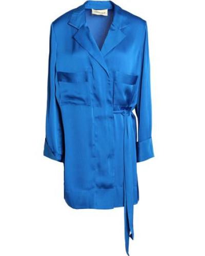 Satin Wrap Mini Dress Cobalt Blue