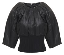Pleated Leather And Ribbed-knit Top