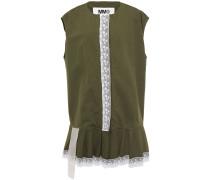 Oversized Lace-trimmed Cotton-canvas Vest