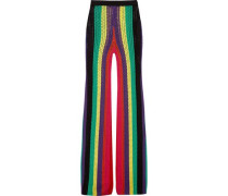 Striped open-knit flared pants