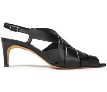 Nina Woven Leather Slingback Sandals