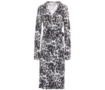 Leopard-print Silk-jersey Midi Wrap Dress