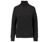 Lace-up Cable-knit Sweater Schwarz