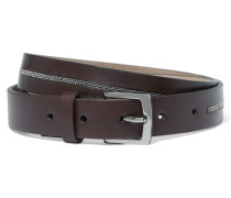 Bead-embellished Leather Belt Braun