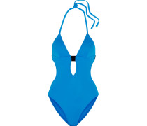 Cutout Halterneck Swimsuit Blau