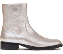 Metallic Brushed-leather Ankle Boots