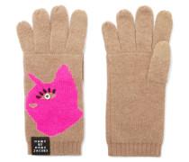 Don't Sweat My Pet Intarsia Merino Wool Gloves Braun