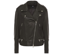 Quilted Washed-leather Biker Jacket