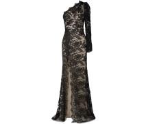 One-shoulder Cotton-blend Chantilly Lace Gown