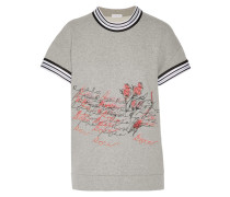 Embroidered Cotton Top Grau