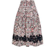 Sevilla Lace-trimmed Printed Cotton-poplin Skirt Schwarz