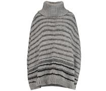 Ribbed-knit Turtleneck Cape Grau
