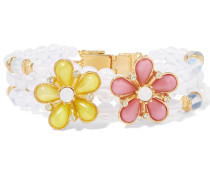 Gold-plated Beaded, Resin And Crystal Bracelet Weiß