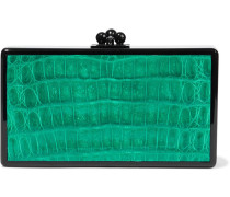 Woman Jean Faux Croc-effect Leather-paneled Acrylic Box Clutch Emerald