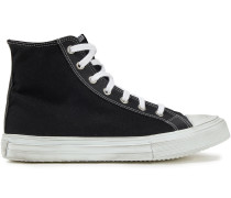 Ali Distressed Cotton-canvas High-top Sneakers