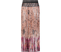 Pleated Printed Silk And Lamé-blend Skirt Puder