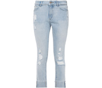 Woman Distressed Mid-rise Slim-leg Jeans Light Denim
