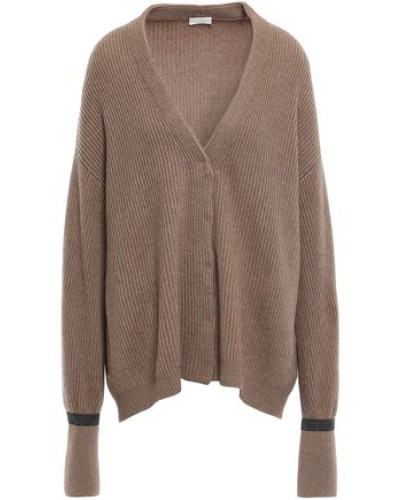Bead-embellished Ribbed Cashmere Cardigan Tan