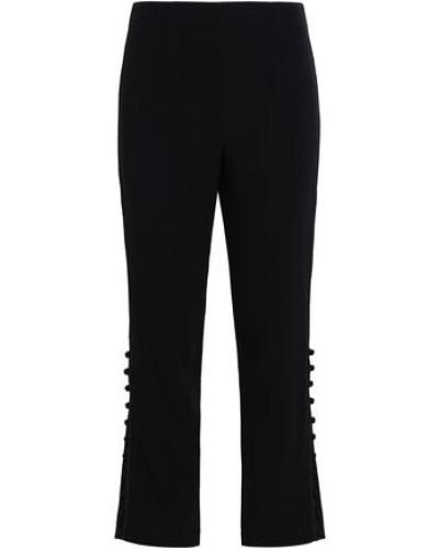 Button-detailed Stretch-crepe Straight-leg Pants Black