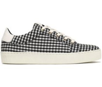 Lace-up gingham leather-trimmed canvas sneakers