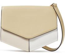 Woman Color-block Leather Shoulder Bag Sage Green