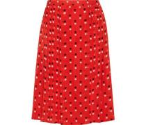 Pleated printed silk-chiffon skirt