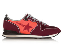 Felt, Mesh And Leather Sneakers Bordeaux