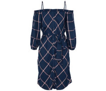 Cold-shoulder belted checked twill dress