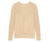 Fringed Open-knit Cotton Sweater Sand