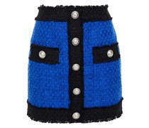 Button-embellished Cotton-blend Tweed Mini Skirt