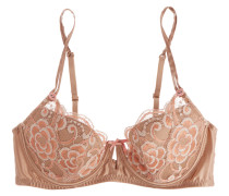 Sunrise Love Lace And Stretch-silk Satin Contour Bra Sand