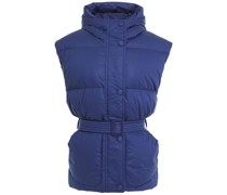 Belted Quilted Cotton Hooded Vest