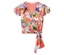 Zabel Floral-print Burnout Satin Wrap Top