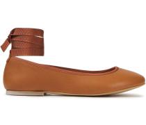 Margot Grosgrain-trimmed Leather Ballet Flats