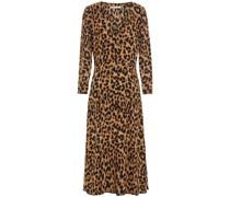 Leopard-print Crepe Midi Dress