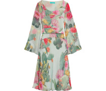 Flared Printed Silk-chiffon Dress Mint